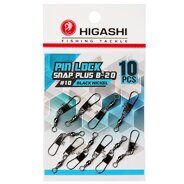 Карабин с вертлюгом Higashi Pin lock snap plus B-20 #10 Black Nickel