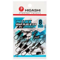 Карабин с вертлюгом Higashi Pin lock snap plus B-20 #4 Black Nickel