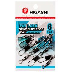 Карабин с вертлюгом Higashi Pin lock snap plus B-20 #1 Black Nickel